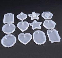 encanto del corazón de silicona al por mayor-Resina de silicona Cabochon Rectángulo Redondo Corazón Oval Colgante Encanto Moldes Resina Molde Expoxy Herramientas de Joyería de BRICOLAJE accesorios