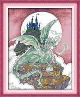 Wholesale set castle canvas prints for sale - Group buy Dragon castle cartoon moon room decor painting Handmade Cross Stitch Embroidery Needlework sets counted print on canvas DMC CT CT