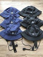 sombreros de pescadores al por mayor-hombre de pesca al aire libre de viaje retro unisex sombrero de pescador explosión de nylon bordado de tela tejida compás ajustable banda elástica sombreros para los hombres