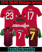 Wholesale portugal jerseys resale online - 2010 Portugal Retro soccer Jerseys home FIGO RONALDO nani HOME RED JERSEY FOOTBALL SHIRTS