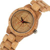 эко-часы мужчины оптовых-Casual Eco-friendly Nontoxic Bamboo Watch for Women Men Creative Quartz Watch Movement All Bamboo Natural Wood Wristwatch