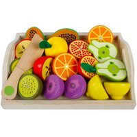 Wholesale wood toy vegetables for sale - Group buy Wooden Toys Pretend Play Kitchen Toys Cutting Fruit and Vegetable Education Food Toys Children Gifts