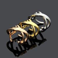 ingrosso y acciaio-Acciaio di titanio Marca lettera Y oro rosa bocca aperta anello donne bocca aperta amore anello di San Valentino donne uomini regalo gioielli all'ingrosso