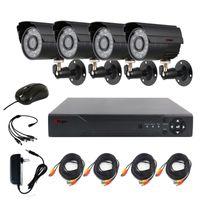 16 kanallı dvr fotoğraf makinesi seti toptan satış-Anspo 4CH AHD Ev Güvenlik Kamera Sistemi Seti Su Geçirmez Açık Gece Görüş IR-Cut DVR CCTV Ev Gözetim 720 P Siyah Kamera Sistemi