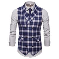 camisa de esmoquin azul marino al por mayor-Clásico Blanco Negro Azul Azul marino Azul Camisas de caballero a cuadros Formal de negocios Escocés Esmoquin delgado Chaleco Chicos guapos camisa