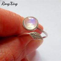 anéis abertos de prata antiga venda por atacado-RongXing Antique Silver Color Folha Abertura Ajustável Moonstone Anéis para As Mulheres Boho Jóias Vintage Fashion Wedding Party Ring