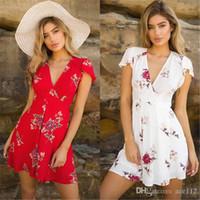 neue stilvolle damen kleider großhandel-Womens Floral Printed Lose Minikleid Neue Damen V-ausschnitt Sommer Kleider Stilvolle Kurzarm Abend Party Kleid Vestidos