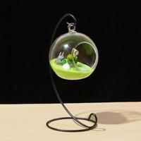 hava yastığı tutucu toptan satış-Spiral Süs Ekran Standı Demir Asılı Asılı Cam Küre Standı Asılı Raf Tutucu Hava Bitki Terrarium Bahçe Süslemeleri CCA11458