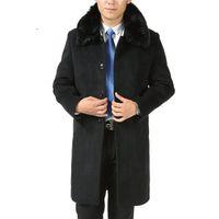 kadife ceket xxxl toptan satış-Yeni Varış Yün Palto Kalın Ceket Artı Kadife Yastıklı Ceket Uzun Rüzgarlık Kış Erkek Ceket Boyutu M L XL XXL XXXL