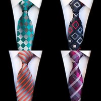 gravata vermelha do terno dos homens venda por atacado-JEMYGINS Moda Xadrez De Seda Amarrar Jacquard Tecido De Casamento Gravata para Homens Listrado Gradiente Azul Vermelho Verde Gravata Terno Partido Gravatas
