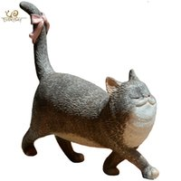 ingrosso ornamenti giardino gatti-Collezione Everyday Gatto fortunato Figurine animali Miniature Fairy Garden Ornamenti Accessori decorativi per la casa Simpatico capodanno Q190426