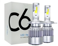 bombillas h4 de calidad al por mayor-2019 nueva alta calidad C6 LED faros de coche 72W 7600LM COB Auto bombillas de faros H1 H3 H4 H7 H11 880 9004 9005 buen artículo