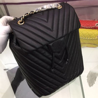 Wholesale gold drawstring bags resale online - Newest brand fashion design women genuine leather backpack female silver gold chain shoulder bags diamond lattice drawstring travel bags