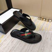 pantoufles en cuir italien hommes achat en gros de-Nouvel été italien chaussons de marque GG hommes haute qualité orteil bande sangle en cuir sandales plates de plage hommes chaussures de sport