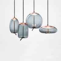 cocinas blancas modernas al por mayor-Moderno loft lámpara industrial lámpara colgante de vidrio azul LED art deco Nordic blanco hanglamp para sala de estar cocina dormitorio salón