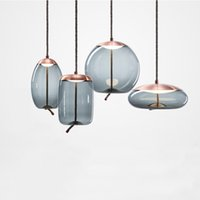 e27 led azul al por mayor-Moderno loft lámpara industrial lámpara colgante de vidrio azul LED art deco Nordic blanco hanglamp para sala de estar cocina dormitorio salón