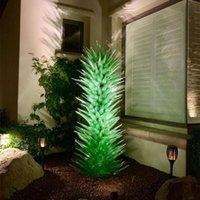 Custom Hand Blown Lamps Indoor Arts Decoration Green Glass Art Floor Lamp Garden Sculptures Flower Trees Sculpture