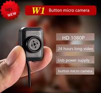 caméra d'enregistrement 24 heures sur 24 achat en gros de-Caméra micro bouton HD 1920 * 1080P w1 Caméra vidéo mini bouton Soutien 7 jours sur 24 heures Enregistrement en boucle Accueil Caméscope Sécurité