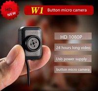 ingrosso pulsante di sicurezza-Videocamera con videocamera mini a pulsante HD 1920 * 1080P micro telecamera w1 Supporto 7 giorni 24 ore di registrazione in loop Videocamera di sicurezza domestica