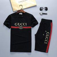 erkek kısa kollu sweatshirtler toptan satış-5 psc Ücretsiz DHL Yeni İtalya erkek spor Tasarımcısı Kısa kollu Takım Elbise Marka Moda Tişörtü Mektup Spor Takım Elbise Çalışan Medusa suit