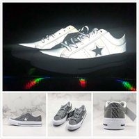 Wholesale lace vulcanized canvas shoes resale online - 2019 Cool Grey Brand Convas M Reflective One Star Academy Low Classic Vulcanized Shoes Men Women Fashion New Casual Sneakers