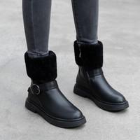 sapatos de cor sólida venda por atacado-2019 botas de inverno artificial de borracha de cor sólida curto pelúcia de curto barril de cabeça chata simples sapatos femininos da moda de fundo planas