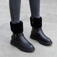 ingrosso scarpe colorate solide-2019 Stivali inverno artificiale in gomma piena di colore breve peluche scarpe da donna a breve botte a testa piatta a fondo piatto di moda semplici