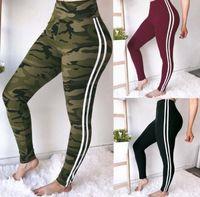 Wholesale yoga pant unisex online - Women Camo Print pants Skinny Yoga White Striped Camouflage Sport Trousers Summer Slimming sport pants LJJK1387
