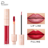 Wholesale nudes lipsticks for sale - Group buy Pudaier Double ended Lipgloss Lips Makeup Waterproof Matte Lip Gloss Lip liner Pencil Nude Matte Liquid Lipsticks