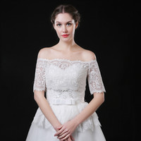 свадебное платье болеро с коротким рукавом оптовых-JaneVini невесты свадебная куртка женщины свадебное пальто кружева болеро для невесты свадебное платье с плеча кружева-Up назад короткие рукава накидки болеро
