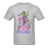 ingrosso stampa lucertola-Mullet Surfer T-shirt Mullet Hair Tops Lizard Printed Abbigliamento Uomo Grigio T Shirt Hipster Summer Tshirt Tee Designer unico