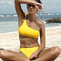gelbe bandeau top großhandel-Gelb Schulter Bikini Set Für Frauen Push-Up Gepolsterte Bandeau Top Bademode Badeanzug Strand Schwimmen Anzug CCI0151