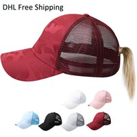 chapéus camo vermelho venda por atacado-Designer premium rabo de cavalo camuflagem mulher chapéus femininos bonés mulheres lazer ao ar livre boné de basquete branco rosa vermelho malha camo snapbacks