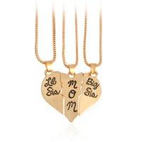 большие головоломки оптовых-Мама Дочь Ожерелье Подарок Big Sis Lil Sis Mom Разбитое Сердце Головоломка Ожерелье Набор сердце ожерелье