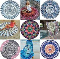 serviettes de plage rondes achat en gros de-Mandala indien serviette de plage ronde plage couverture polyester éléphant impression tapisserie tapis de yoga tapis de pique-nique été 16 couleurs MMA1685
