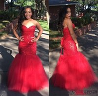 Wholesale girls jackets high neck resale online - Red Mermaid Prom Dresses Sexy Sweetheart Backless South African Girls K19 New Evening Gowns Junior Graduation Wears BC1340