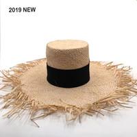 chapéus de palha artesanais venda por atacado-2019 Nova Marca de Moda Mostrar Chapéu De Palha Para As Mulheres de Ráfia Macia Chapéus de Sol de Alta Qualidade Feitos À Mão Grande Brim Praia Chapéu atacado