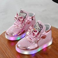 Wholesale luminous shoes children sneakers resale online - KT Cats Child Luminous Sneakers New Brand Rhinestone footwear kids LED Flashing Boot for Baby girls Casual Shoes with light Y200103