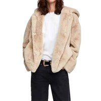 ingrosso cappotti carini corti-2018 Inverno Cute Short Hairy Shaggy Faux Fur Hood Jacket Jacket Vintage Long Sleeve Causale Faux Fur Coat