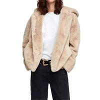 lindos abrigos cortos al por mayor-2018 Invierno Lindo Corto Peludo Shaggy Faux fur Hooderd chaqueta Vintage manga larga Causal Faux Fur Coat