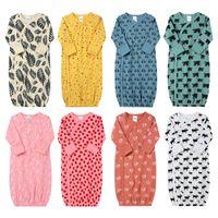 многоцветная пижама оптовых-Новорожденные Многоцветные Пижамы 8 Дизайн автомобилей мультфильм животные Printed младенец Nightgowns INS младенец Soft пеленает Весну Осень Nightgowns 9-18M 04