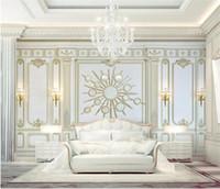 ingrosso carta da parati quadrata 3d-Carta da parati murale 3D di qualsiasi dimensione 3D stile europeo Stereo 3D Cornice quadrata dorata Photo Wall Painting Living Hotel Wall Paper