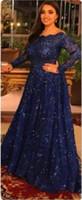 abaya cap großhandel-2019 neue arabische abaya langarm spitze moslemische abendkleider capped bodenlangen abendkleid royal blue benutzerdefinierte formale abendkleider