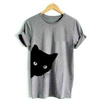 ingrosso cat-T-shirt donna Street Fashion cat guardando fuori Stampa tshirt donna Cotton Casual T shirt divertente per Lady Girl Top Tee