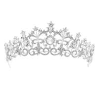 vintage-stil-tiara großhandel-Damen Zarte Luxus Stirnband Haarschmuck Bräute Hochzeit Mode Haarschmuck Frauen Vintage Style Silber Farbe Tiara Crown