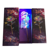 Wholesale gift boxes for valentines resale online - New Colorful Artificial LED Light Flower K Gold Foil Luminous Rose Unique Presents And Gift Box For Valentines Day Wedding Gifts HH9