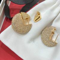 jóias de rua venda por atacado-Famoso designer europeu de jóias de Diamante cravejado brincos redondos banquete mulheres festa e rua para fora acessórios de jóias de luxo