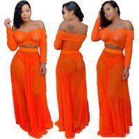 turuncu uzun yazlık elmas toptan satış-Kadın Yaz kapalı omuz Elbise set Seksi İki Adet See Through turuncu Straplez Uzun Kollu Gevşek üstleri tee uzun etek suit 3 setleri LJJA2830