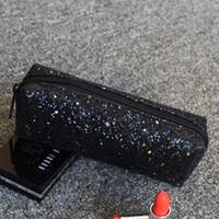 mini saco de escola saco de lápis venda por atacado-Lápis Floral Glitter Mini Lantejoula Saco, Zipper Pencil Caso fontes de escola Maquiagem Cosmetic Bag Zipper malote