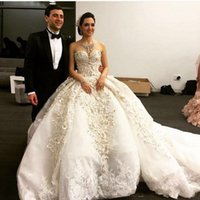 ingrosso overskirt puro vestito da sposa-Michael Cinco 2020 Luxuey Off the Shoulder Sweetheart Ricamo Perle Senza maniche Ball Gown Cattedrale Train Puffy Abiti da sposa Overskirt